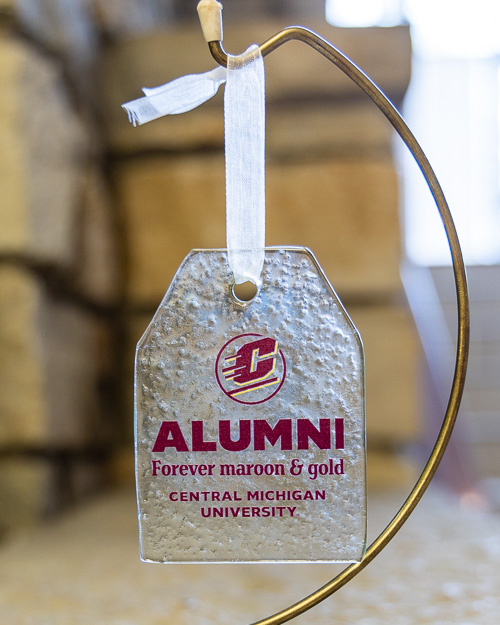 Alumni Forever Maroon & Gold Tag Glass Ornament
