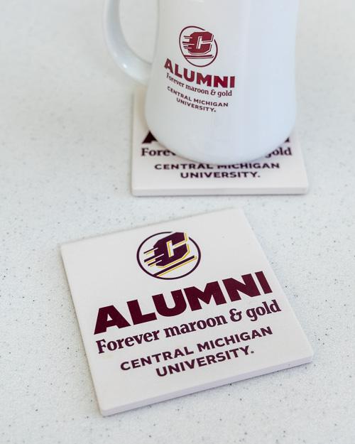 Alumni Forever Maroon & Gold Cream Stone Coasters (2pk)<br><brand></brand>